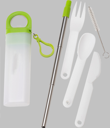 Picture of Retractable Straw w/ Utensil Set